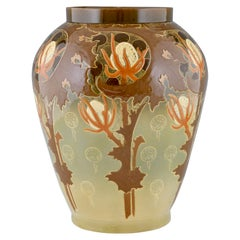 Impressive Art Nouveau Ceramic Vase with Flowers by Hippolyte Boulenger ca. 1900