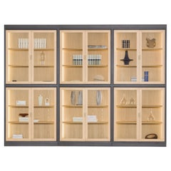 Morelato, Novecento Bookcase in Ash Wood with Led Lights