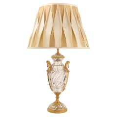 French 19th Century Louis XVI St. Baccarat Crystal and Ormolu Lamp