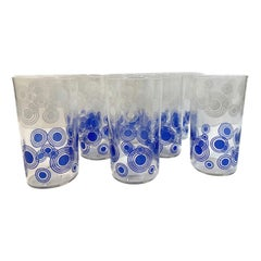 Mid-Century Modern Tumblers Decorated in Blue and White Enamel by Libbey