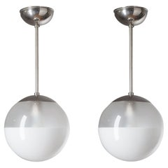 Pair of Ceiling Lights by Philips, circa 1930, Nickel and Enameled Glass