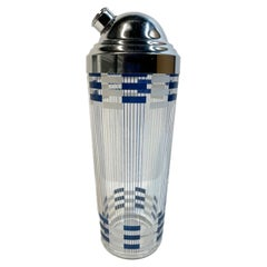 Art Deco Cocktail Shaker with Blue and White Bands and Stripes
