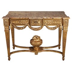 Gilded and Carved Wood Console in the Louis XVI Style