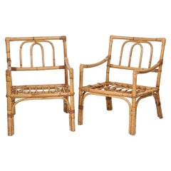 Pair of Vivai del Sud Midcentury Modern Italian Bamboo Armchairs, 1970s