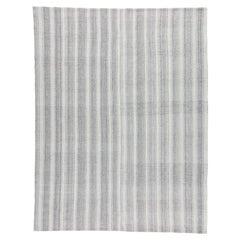 Mid-Century Modern Style Minimalist Stripe Flatweave Rug