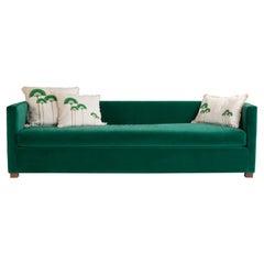 Elegant Modern 3-Seater Sofa Upholstered in Luscious Green Velvet