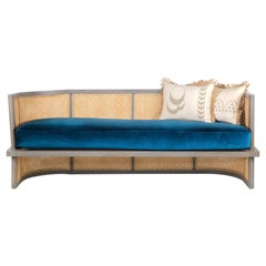 Oak Wood and Cané 2-Seater Sofa with Velvet Upholstery