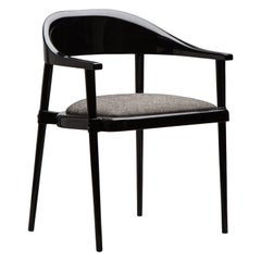 Luxurious Lacquered Sleek Black Dining and Armchair with Upholstery