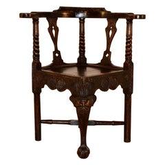 18th Century Carved Oak Corner Chair