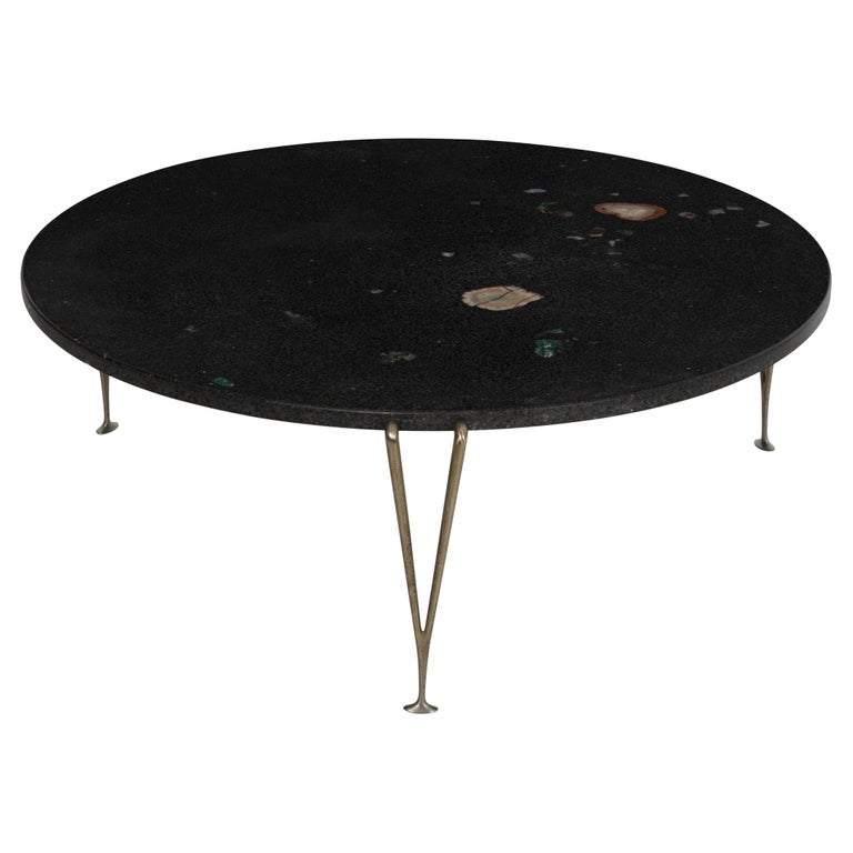 Hugh Acton Cocktail Table with Black Granite Top For Sale