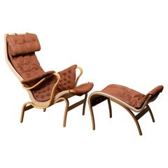 Bruno Mathsson Pernilla Easy Chair and Ottoman in Beech Wood and Brown Leather