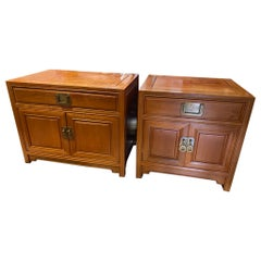 Pair of Henredon Mid-Century Asian Style Night Stands/Side Tables