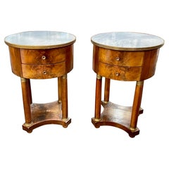 19th Century French Empire Mahogany Side Tables with Marble Tops