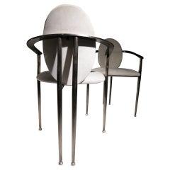 Hollywood Regency Style Belgo Chrom Chairs Gray, Beige, 1980