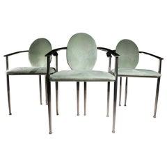 2 Hollywood Regency Style Belgo Chrom Chairs Mint Green, 1980