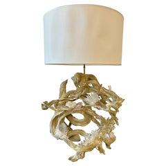 Monumental Vintage Driftwood Lamp with Natural Rock Crystal Details