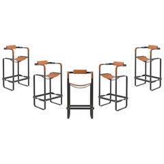Set of 5 Barstool w. Backrest Nuit Noir & Tobacco Saddle Contemporary Style