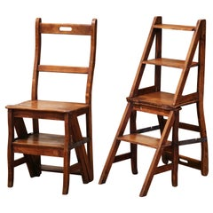 19th Century French Carved Beech Wood Chair Folding Step Ladder