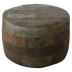 Patchwork Green Leather Ottoman by De Sede, Switzerland, 1960s