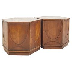 Broyhill Brasilia Mid Century Hexagon Side End Table Cabinet - Pair
