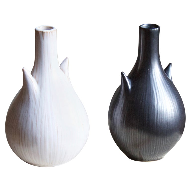 Ejvind Nielsen, Freeform Vases, Glazed Stoneware, Artists Studio, Denmark, 1950s For Sale