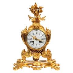 Antique French Ormolu Rococo Clock