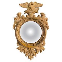 Mid Century Convex Bullseye Federal Style Gilt Eagle Wall Mirror
