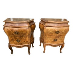 Pair of Italian Bombe' Chair-Side Commodes
