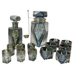 Art Deco Silver Overlay Blue & Green Glass Bar Set