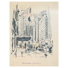 MCM Cityscape Lithograph of The Waldorf Astoria / Park Avenue by John Haymson