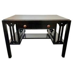 Arts & Crafts Mission Style Black Solid Oak Desk with Side Shelves