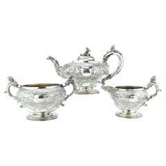 Antique Georgian Sterling Silver Three-Piece Elaborately Engraved Tea Set
