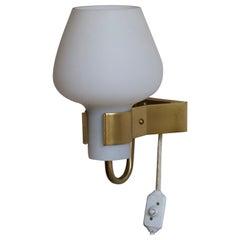 Hans Bergström for Ateljé Lyktan, Wall Light, Brass, Milk Glass, Sweden 1950s