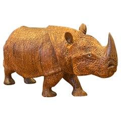 Hand-Carved White Rhino / Rhinoceros Sculpture
