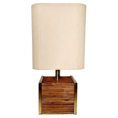 Large Mid-Century Modern Brass and Bamboo Table Lamp