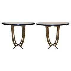 Pair of Modernist Marble Top Tables with Iron Bases