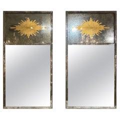 French Jansen Style Eglomise Mirrors