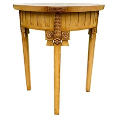 Neoclassical Style Carved Wood Center or Side Round Table with Gilt Accents