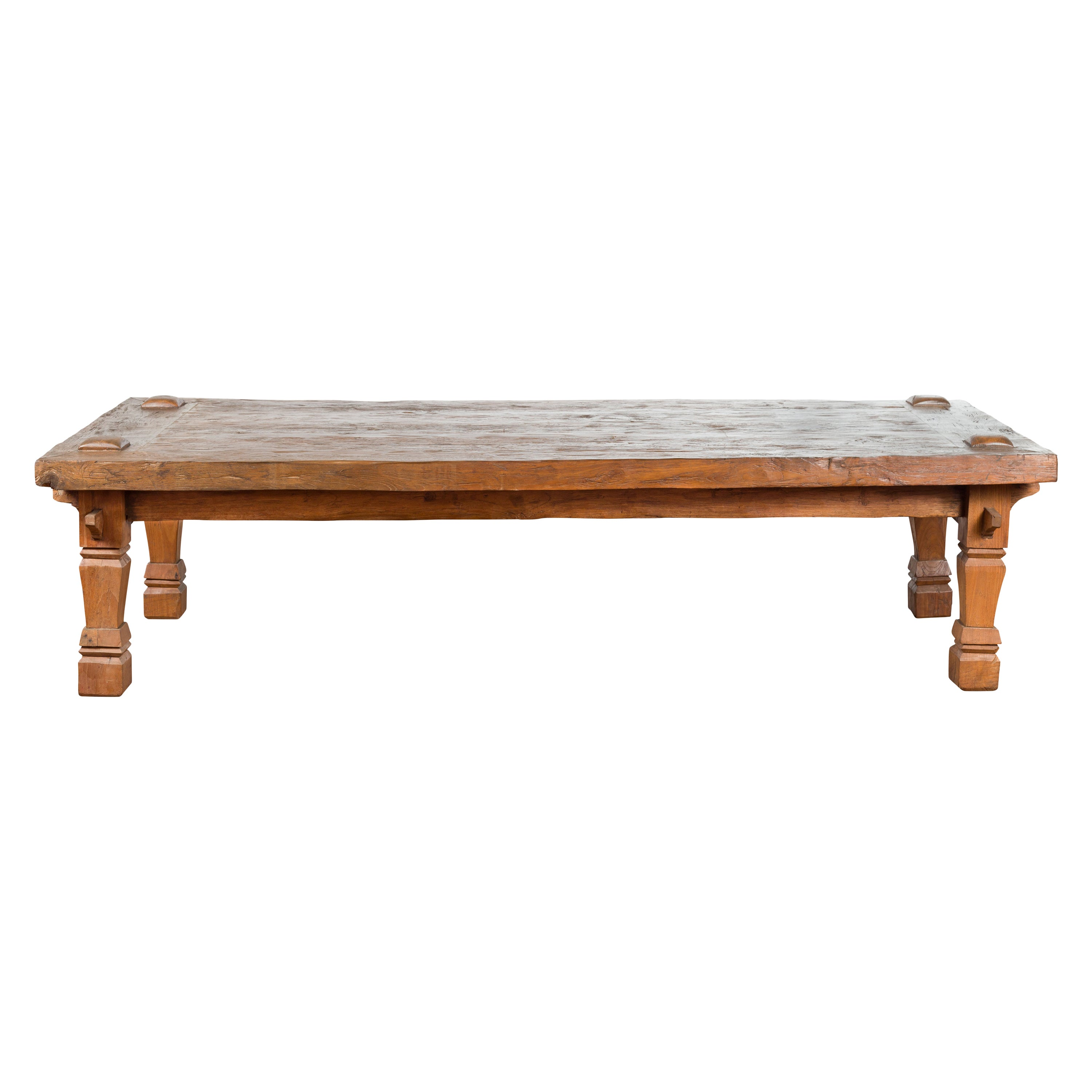 19th Century Indonesian Madurese Coffee Table with Carved Legs and Raised Joints