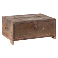 Indian 19th Century Box with Metal Sheathing and Bracketed Wooden Base
