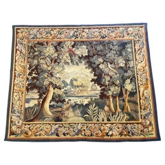 19th Century French Aubusson Verdure Tapestry with Foliage, Birds and Pond