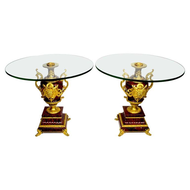 Ferdinand Barbedienne Pair of Marble & Ormolu Urn Low Tables For Sale