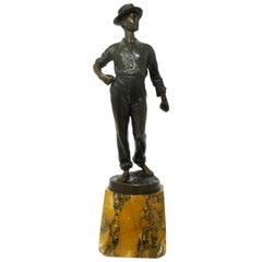 Antique German Bronze Male Boy Figure Sienna Marble Constantin Holand Art Deco