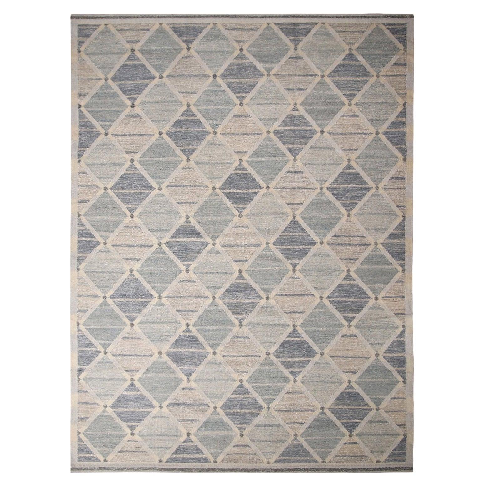 Rug & Kilim's Scandinavian-Inspired Silver-Gray and Blue Wool Kilim Rug