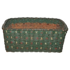 19thc Paint Decorated Double Handled Basket