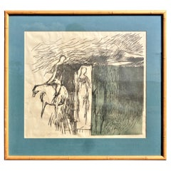 """Color Linocut Print by Robert Marx """"The Rider"""" 1961"""