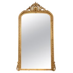 Large Scale 19th Century French Louis XVI Giltwood Mirror