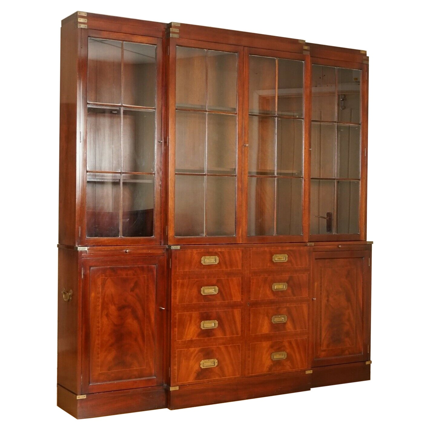Vintage Harrods Kennedy Military Campaign Breakfront Library Display Cabinet