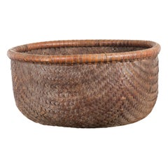 Rustic Chinese Qing Dynasty 19th Century Woven Rattan Round Grain Basket