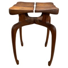 Hand Carved Modernist Low Table with Four Petals circa 1972